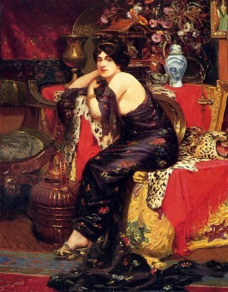A harem Beauty Seated On A Leopard Skin